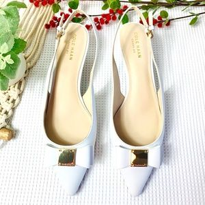 COLE HANN $150 NWT White Leather Bow Heels